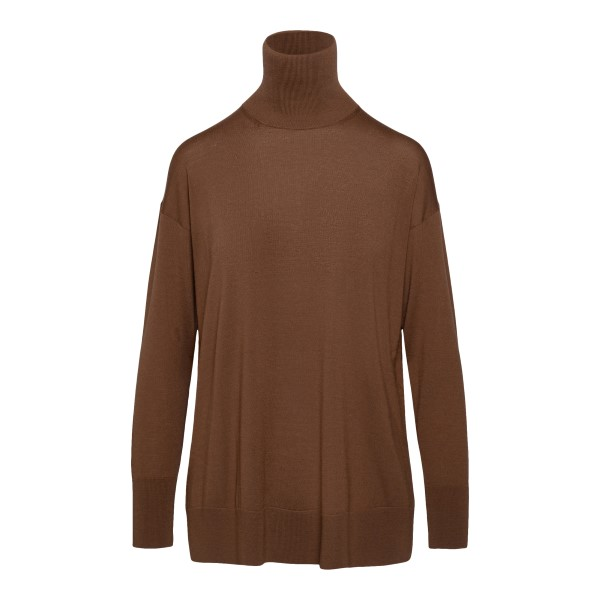 Minimal brown top with high collar                                                                                                                     MAX MARA S