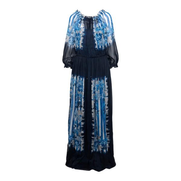 Long blue patterned dress                                                                                                                             Alberta ferretti 0426 front