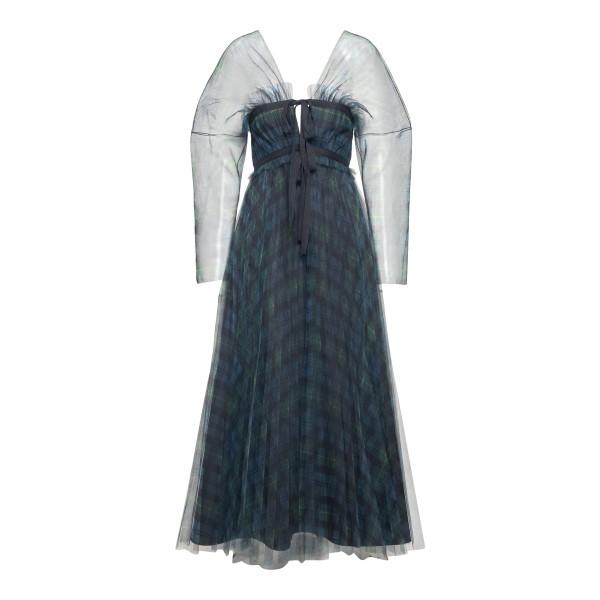 Long semitransparent checked dress                                                                                                                    Philosophy 0434 back