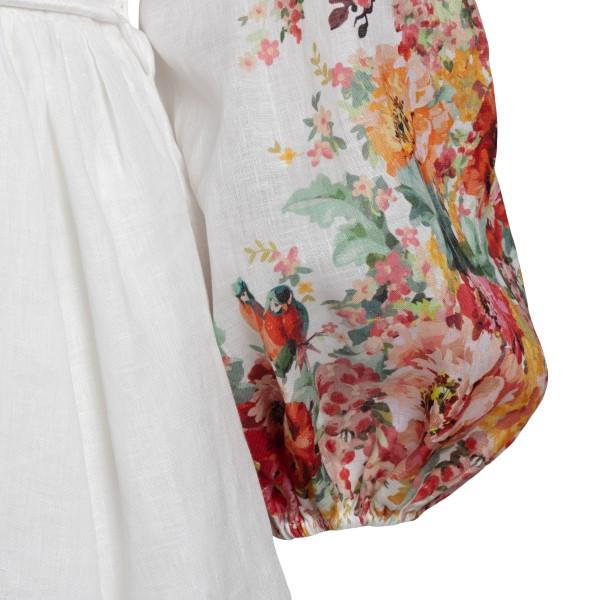 Short white floral dress                                                                                                                               ZIMMERMANN