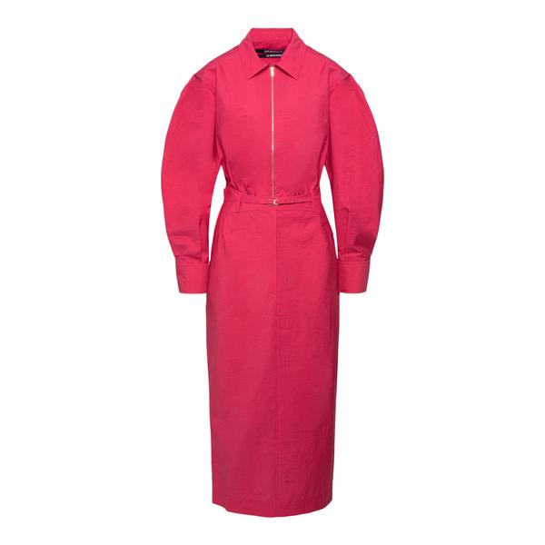 Fuchsia shirt dress                                                                                                                                   Jacquemus 213DR03 back