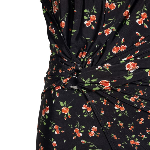 Long black dress with flowers                                                                                                                          PACO RABANNE