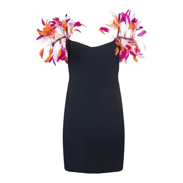 Short black dress with multicolored feathers                                                                                                          The Attico Superattico 226WCA139 back