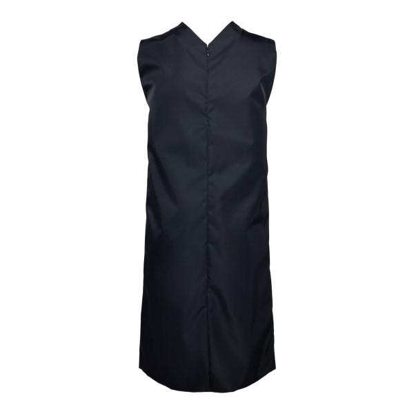 Black midi nylon dress with logo                                                                                                                       PRADA