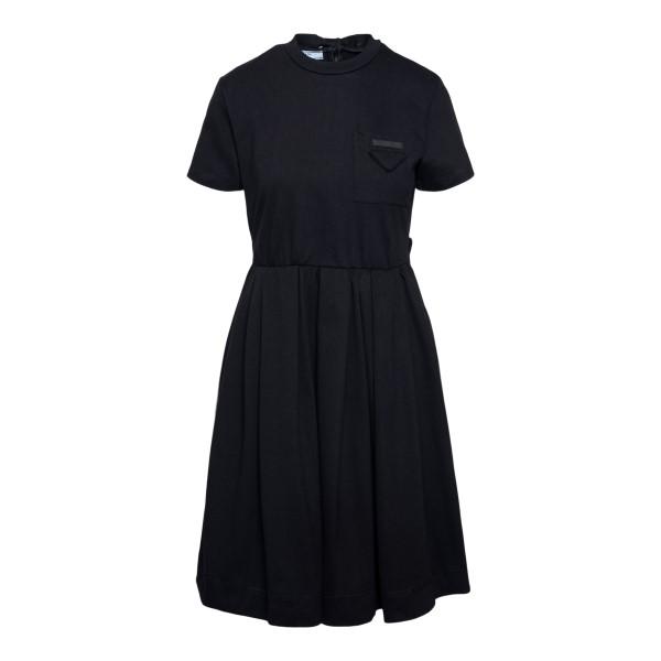 Black midi dress with logo patch                                                                                                                      Prada 33556 front