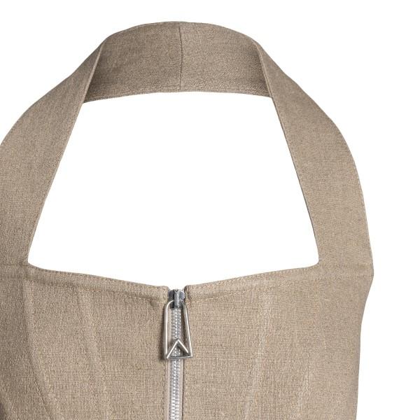 Beige flared dress with zip                                                                                                                            BOTTEGA VENETA