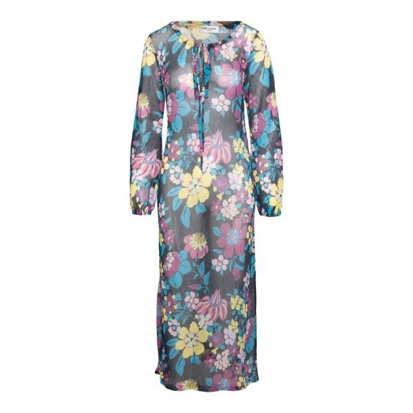 Semi-transparent dress with flowers                                                                                                                   Saint Laurent 659003 back