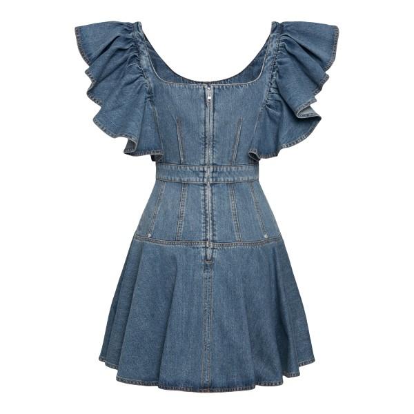 Short denim dress with ruffles                                                                                                                         ALEXANDER MCQUEEN