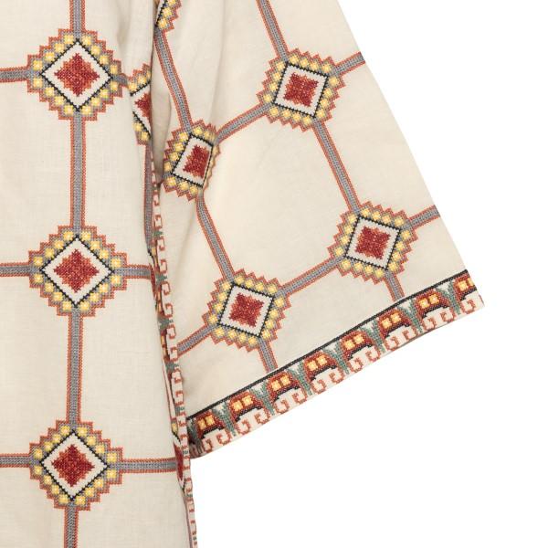 Patterned caftan-style beige dress                                                                                                                     TORY BURCH