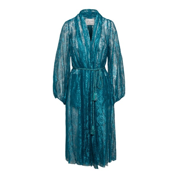 Blue wrap dress with embroidery                                                                                                                       Forte forte 8062BIS front