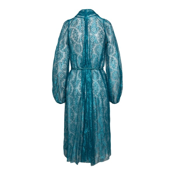 Blue wrap dress with embroidery                                                                                                                        FORTE FORTE