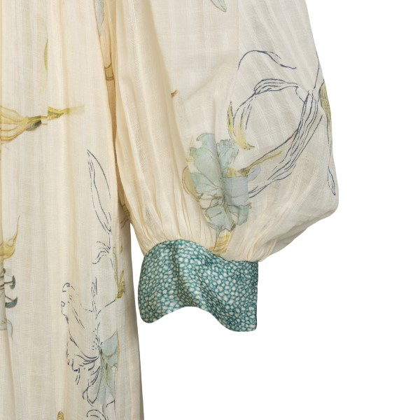 Long white dress with floral print                                                                                                                     FORTE FORTE