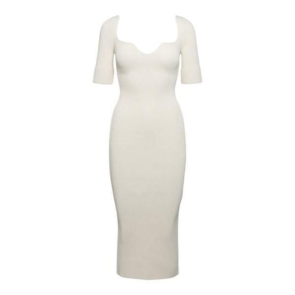White fitted midi dress                                                                                                                               Khaite 8600400 back
