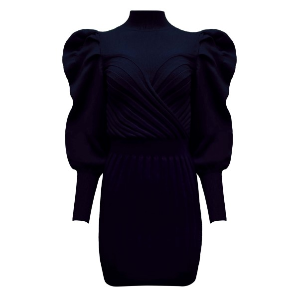 Short dark blue dress with balloon shoulders                                                                                                           VIOLANTE NESSI