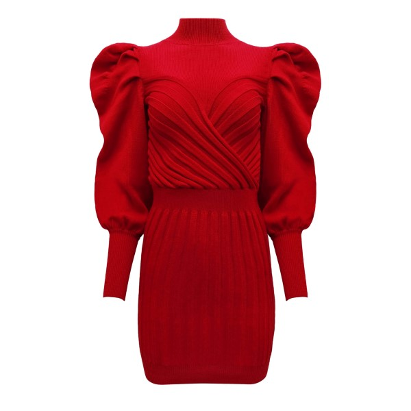 Short red dress with balloon shoulders                                                                                                                 VIOLANTE NESSI