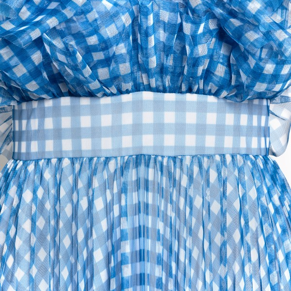 Long blue checked dress with frappe                                                                                                                    PHILOSOPHY