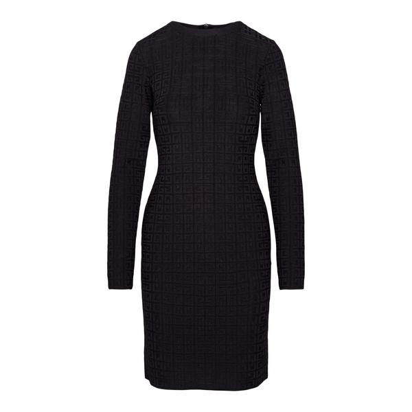 Abito midi nero con pattern logo                                                                                                                      Givenchy BW218D retro