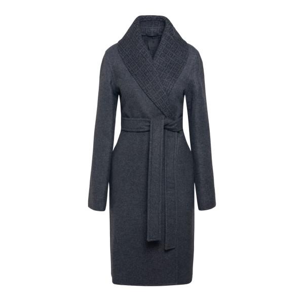 Grey coat with logo pattern                                                                                                                            GIVENCHY