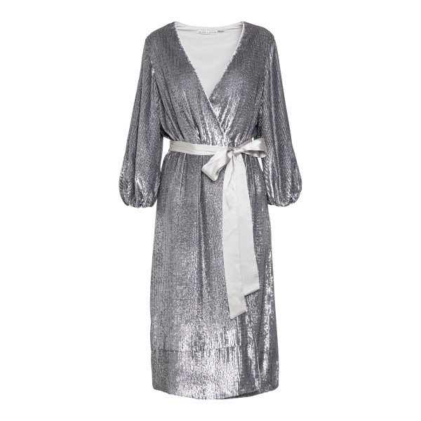 Silver midi dress with sequins                                                                                                                        Alice+olivia CC011E55523 front