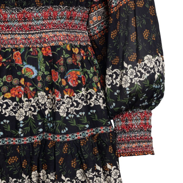 Multicolored short dress with floral print                                                                                                             ALICE+OLIVIA