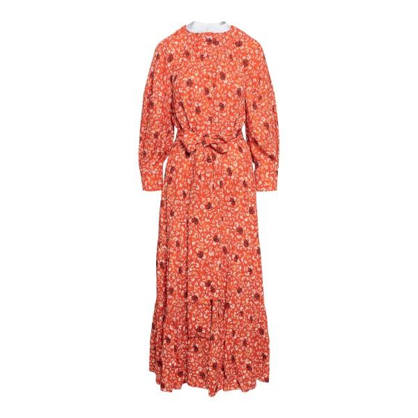 Long orange dress with floral pattern                                                                                                                 Chloe' CHC21SRO02 front