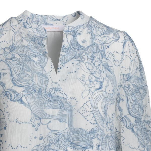 Abito midi bianco con stampe azzurre                                                                                                                   SEE BY CHLOE SEE BY CHLOE