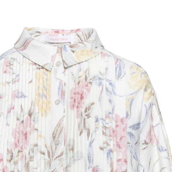 White shirt dress with floral print                                                                                                                    SEE BY CHLOE