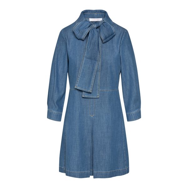 Denim dress with collar and bow                                                                                                                       See By Chloe CHS21WDR01 back