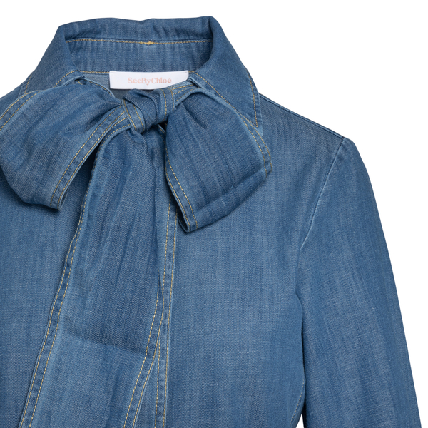 Denim dress with collar and bow                                                                                                                        SEE BY CHLOE