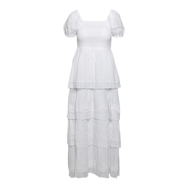 Long white dress embellished with flounces wi                                                                                                         Love shack fancy D1073728 front