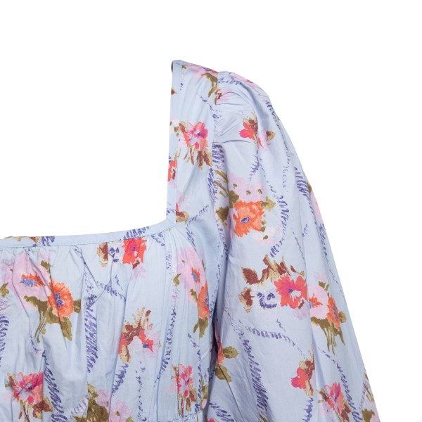 Long blue dress with floral print                                                                                                                      LOVE SHACK FANCY