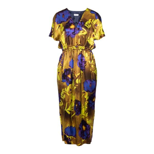 Long satin dress with floral print                                                                                                                    Dries Van Noten DORIAS back