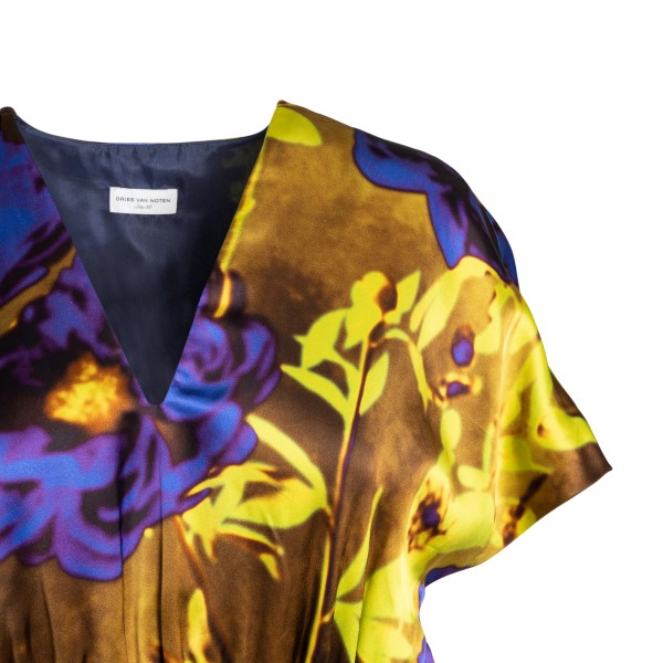 Long satin dress with floral print                                                                                                                     DRIES VAN NOTEN