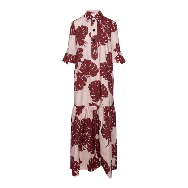 Long pink dress with leaf print                                                                                                                        LA DOUBLE J