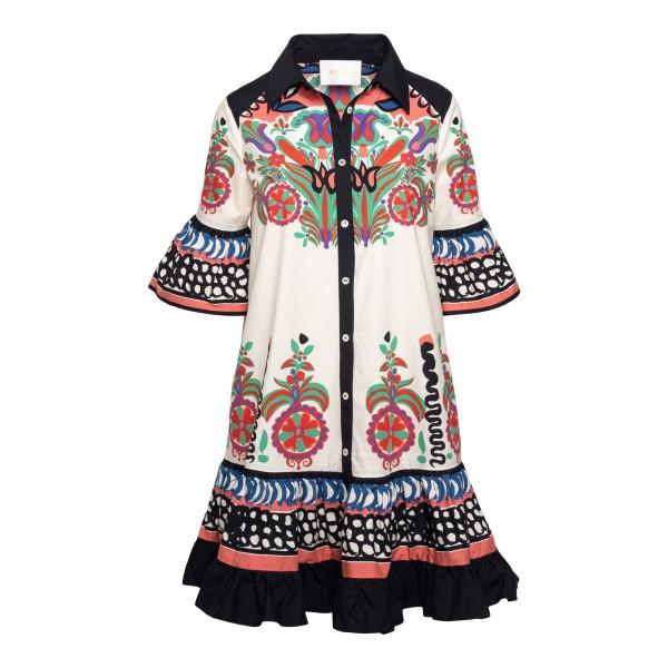 Short white dress with multicolored prints                                                                                                            La double j DRE0205 front
