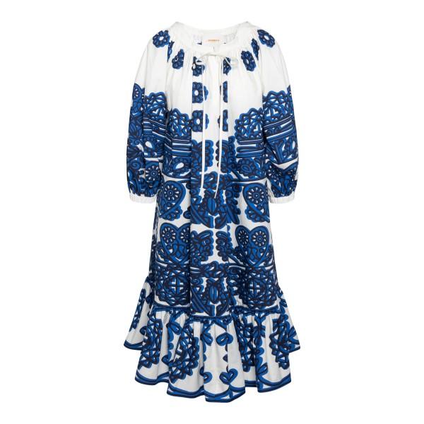 White midi dress with blue prints                                                                                                                     La double j DRE0230 front