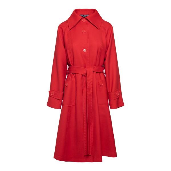 Cappotto rosso con cintura                                                                                                                             DOLCE&GABBANA                                      DOLCE&GABBANA