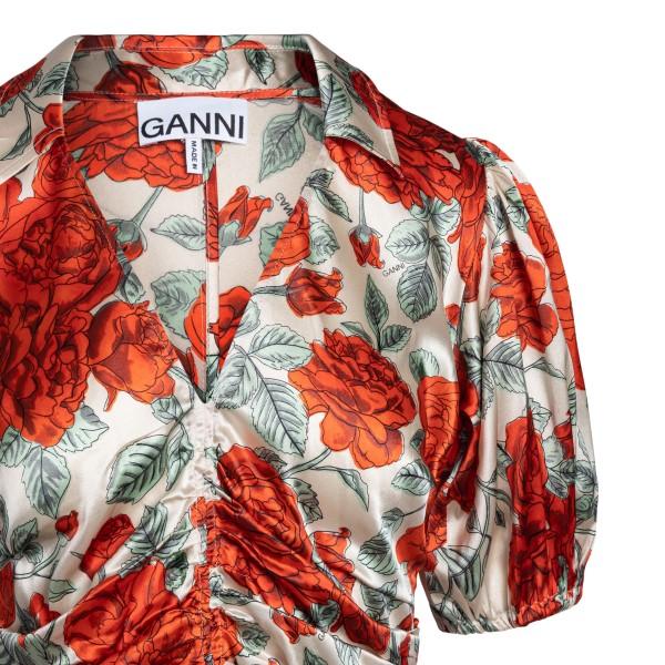Red flower satin midi dress                                                                                                                            GANNI