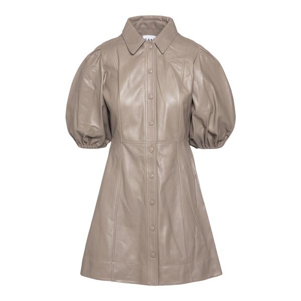 Short dove-grey leather dress                                                                                                                          GANNI