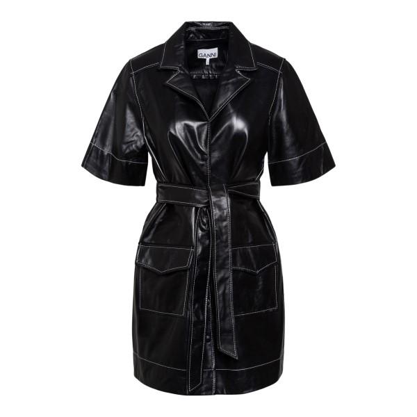 Black leather shirt dress                                                                                                                              GANNI