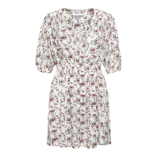 Short white dress with floral print                                                                                                                    GANNI