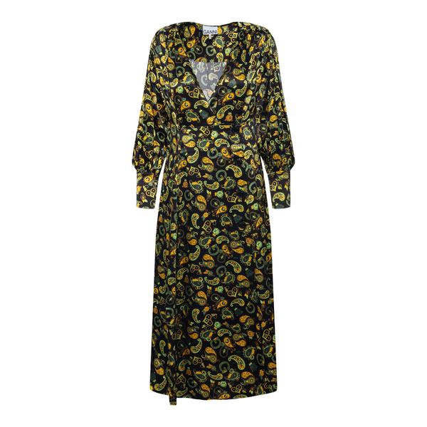 Long black dress with paisley pattern                                                                                                                  GANNI