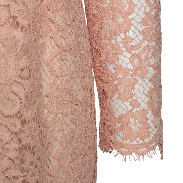 Pink midi dress with floral lace                                                                                                                       DOLCE&GABBANA