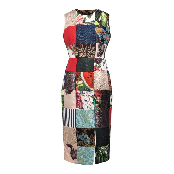 Patchwork-style multicolored midi dress                                                                                                               Dolce&gabbana F6P0AT back