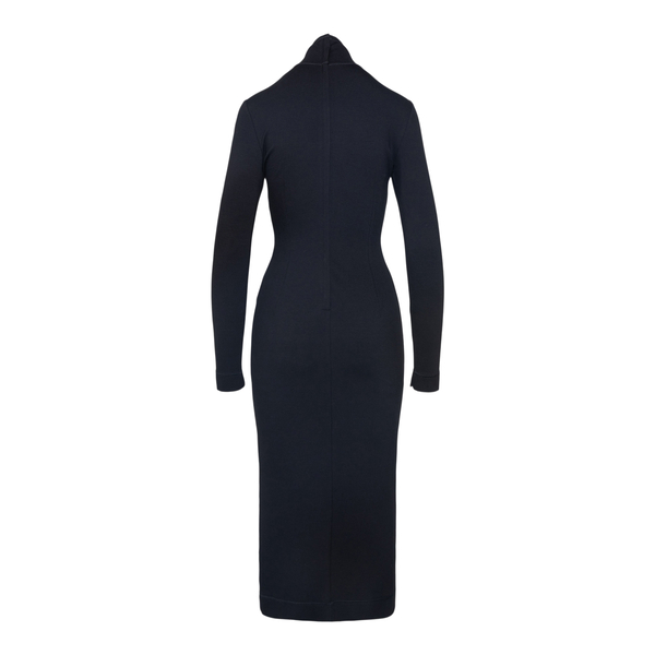 Long black fitted dress with logo                                                                                                                      DOLCE&GABBANA
