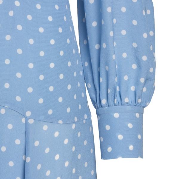 Light blue midi dress with white polka dots                                                                                                            ALESSANDRA RICH