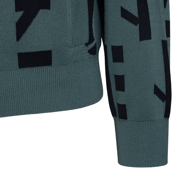 Green knitted cardigan with logo pattern                                                                                                               KENZO
