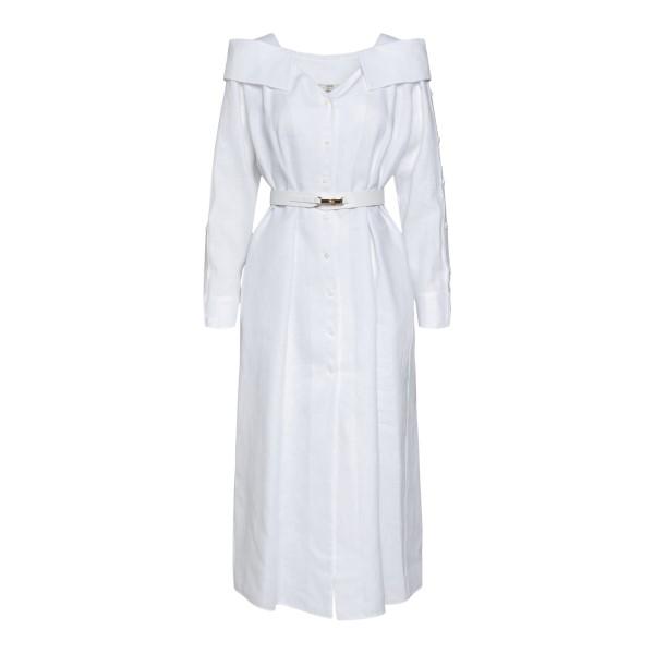 Abito midi bianco in lino con cintura                                                                                                                 Fendi FDB612 retro