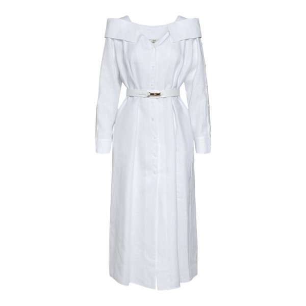 White linen midi dress with belt                                                                                                                      Fendi FDB612 back