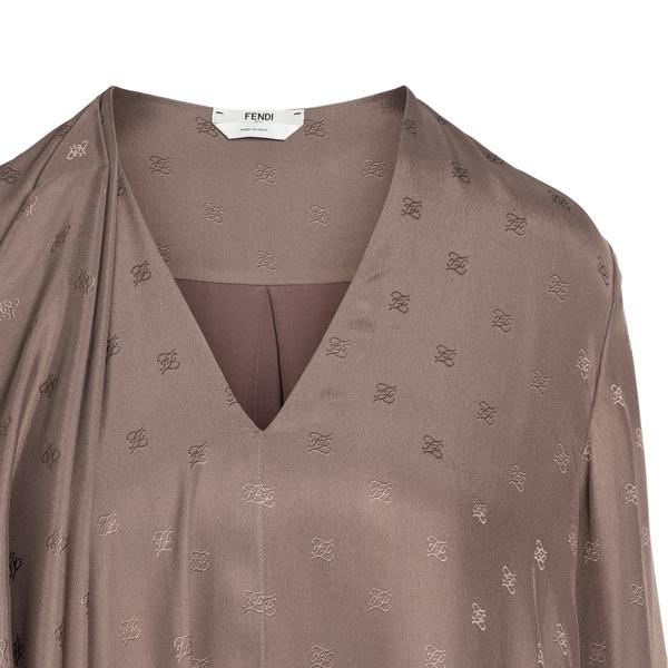Short brown dress with drapery                                                                                                                         FENDI